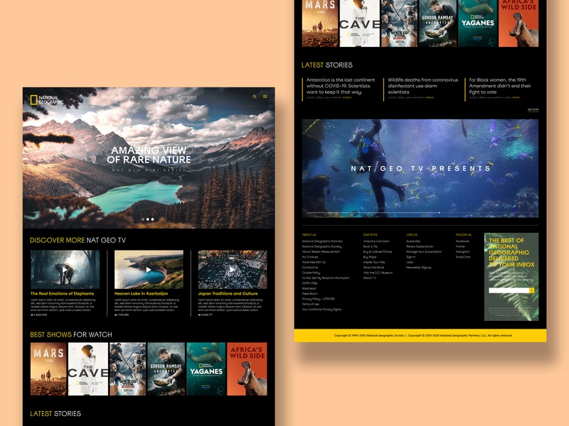 National Geographic Website Redesign Concept national geographic web design webdesign website web graphic design design ui design ui  ux uiux ux ui user experience user interface userinterface