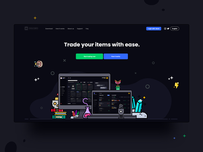 xtrader call to action illustration mobile ui dashboard icon logo vector design branding app landing page user interface
