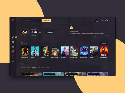 gaming Dashboard dashboard template game gaming twitch dashboard app web interface ui ux landing page user interface interface ux ui