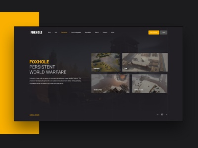 Foxholegame.com landing page redesign gaming game web branding software interface web interface ui ux landing page user interface interface ux ui