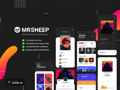 Mr sheep ui kit design ui design ios music app music app ui music app ios app ui kit app branding ui ux interface ux ui