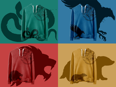 Hogwarts House apparel 2/2 potterhead ravenclaw hufflepuff slytherin gryffindor hoodie fashion clothes apparel hogwarts houses hogwarts potter jk rowling harry potter vector illustrator adobe cc photoshop digital adobe