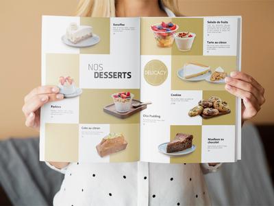 Delicacy menu photography food menu print design print yellow france food dessert sugar salt menu card menu design menu restaurant photoshop adobe indeseign indesign layout design layout adobe