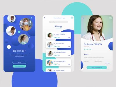 Ui DocFinder 1/2 vector phone smartphone emerald blue doctor care health app health medical app design app ui designer ui design ui design illustrator photoshop digital adobe
