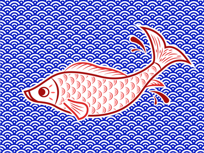 Japanese Carp salva design illustrator vector illustration blue red japan fish carp
