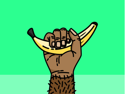 My banana ! vector salva singe monkey illustrator illustration yellow fruit banana