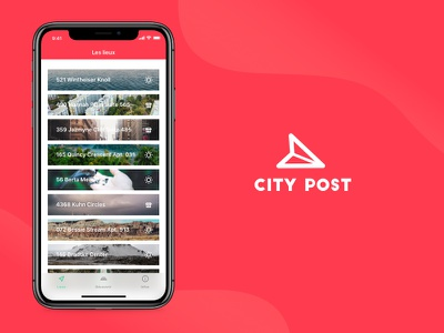 City post #2 travel salva ux ui iphonex red graphism designer design app