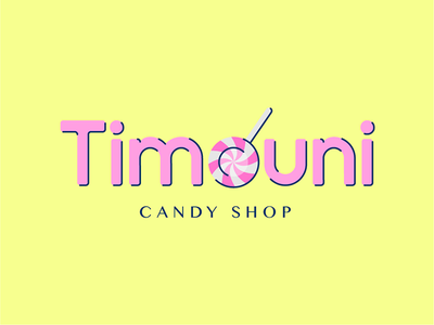 🍬🍭 Timouni logo 🍭🍬 vector salva illustrator illustration yellow pink candyshop candy logo