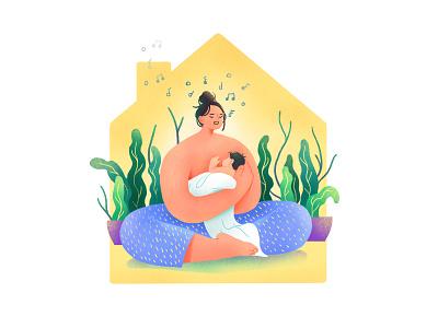 New Momma family baby quarantine mother graphic branding illustration branding web illustration vector art vector minimal illustration minimal clean 2d flat illustration flat art flat face character design