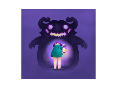 Monsters in the Dark graphic branding illustration branding web illustration vector art vector minimal illustration minimal clean 2d flat illustration flat art flat face character design