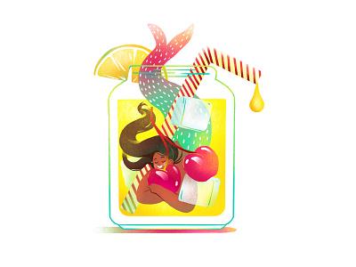 Mermaid Lemonade graphic branding illustration branding web illustration vector art vector minimal illustration minimal clean 2d flat illustration flat art flat face character design