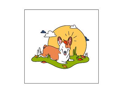 Happy Corgi dog graphic branding illustration branding web illustration vector art vector minimal illustration minimal clean 2d flat illustration flat art flat face character design