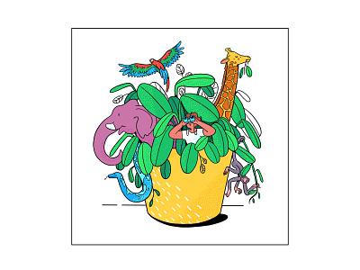 Jungle Pot graphic branding illustration branding web illustration vector art vector minimal illustration minimal clean 2d flat illustration flat art flat face character design