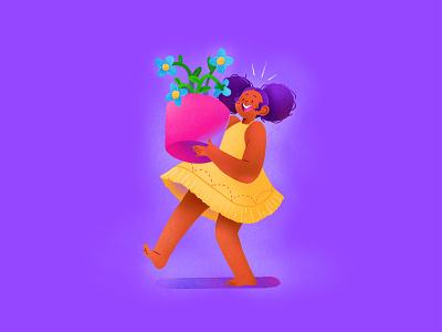 Happy Flower Girl graphic branding illustration branding web illustration vector art vector minimal illustration minimal clean 2d flat illustration flat art flat face character design