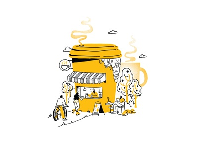 Cafe Week coffee shop coffee graphic branding illustration branding web illustration vector art vector minimal illustration minimal clean 2d flat illustration flat art flat face character design