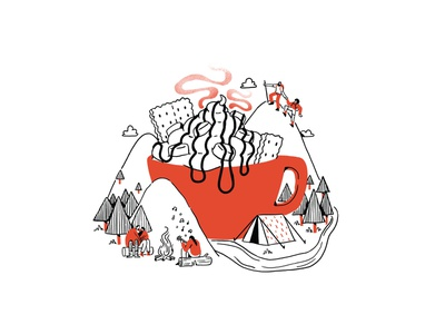 S'mores Hot Chocolate Adventure camping hiking nature coffee graphic branding illustration branding web illustration vector art vector minimal illustration minimal clean 2d flat illustration flat art flat face character design