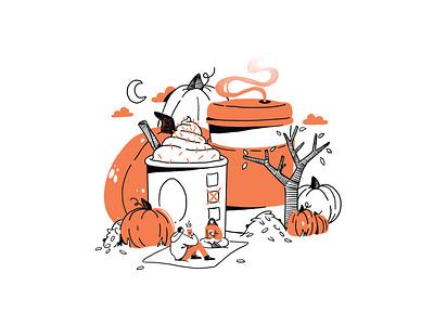 Pumpkin Spice Latte Date graphic branding illustration branding web illustration vector art vector minimal illustration minimal clean 2d flat illustration flat art flat face character design