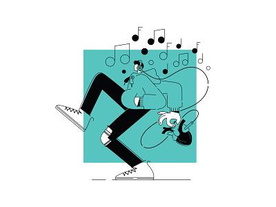 Listen To Your Heart graphic branding illustration branding web illustration vector art vector minimal illustration minimal clean 2d flat illustration flat art flat face character design