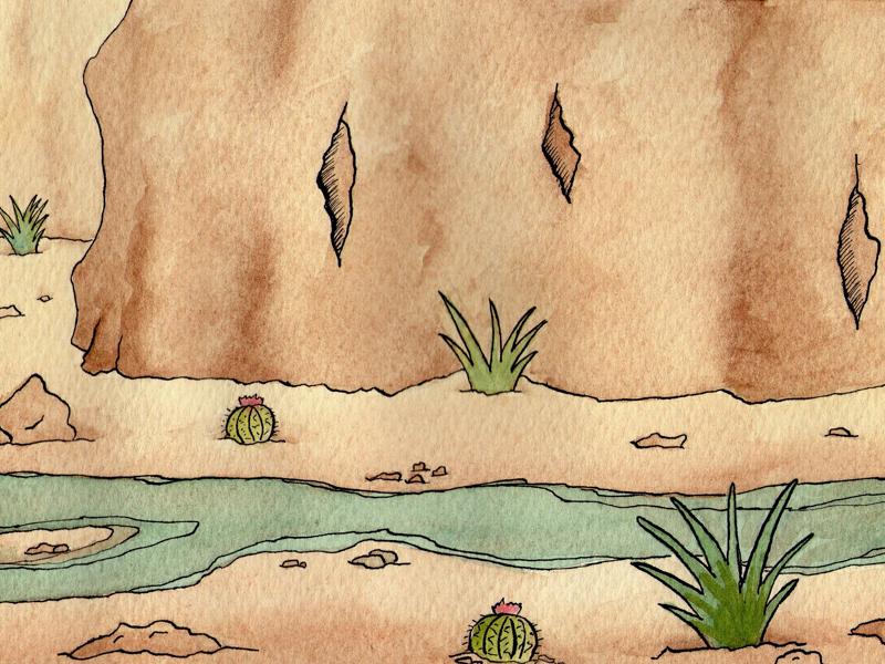 Watercolor Desert saltillo desert ink watercolor