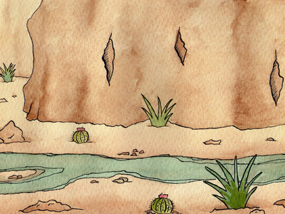 Watercolor Desert saltillo desert ink watercolor