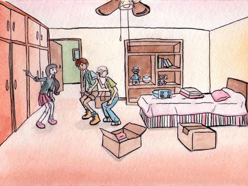Watercolor Girl's Room story childrens book ink watercolor