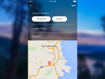 Map Form - iOS Design  form save location map tags designer design ux ui ios