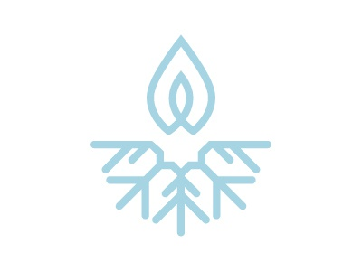 Snow Candles logo flake of snow snowflake flame minimalist localsmd branding logo aquamarine snow candles blue candle snow