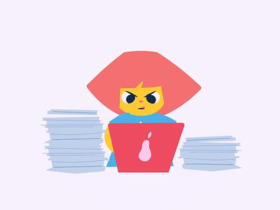 Working Hard stickerdesign sticker design sticker digital animation work from home character adobe cute character design illustration