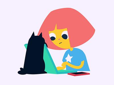 Distractions animation stickerdesign sticker design sticker digital adobe work from home fun cute character design illustration