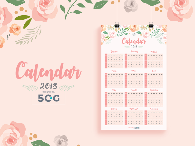 free one page printable 2018 calendar design template