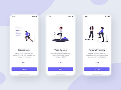 10 Days Design Challenge - Day 1 - Fitness App Walkthrough walkthrough onboarding ui adobexd ui design mobile uidesign fitness design app 10ddc