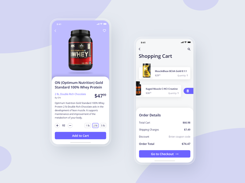 10 Days Design Challenge - Day 10 - Fitness App Cart Screen shopping cart shopping uxdesign ux uidesign ui products mobile iphone fitness ecommerce design ecommerce app ecommerce design app adobe xd 10ddc