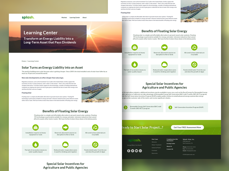 Splash Solar Learning Center Website Design by Manthan D on Dribbble