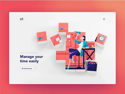Landing Page landing page 3d web design website blender schedule time manage illustration web