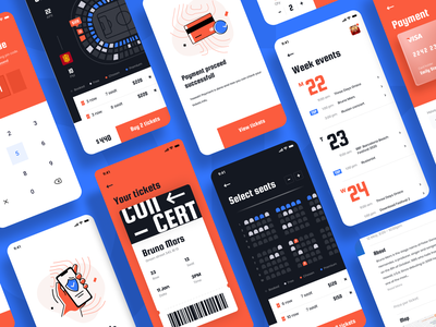 Event App uidesign mobile fun ticket concert event typography ux branding ui design app illustration