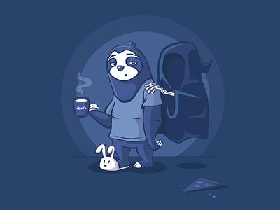 Deadline is coming... it designer deadline sloth illustration