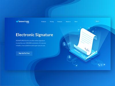 Electronic Signature isometric isometry illustration paper document signature electronic