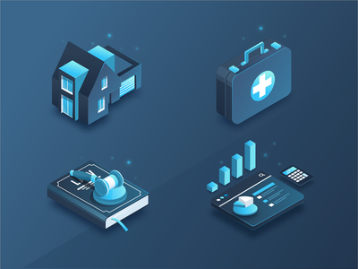 Isometric Icons realestate accounting tax health isometric vector isometry illustration