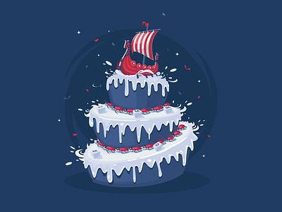 Galley Cake Illustration sweet row ship keyboardbutton birthday celebrate cockroach card illustration cake galley