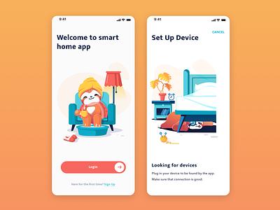 Smart Home App sloth cozy illustration smart home control home smart application app design app