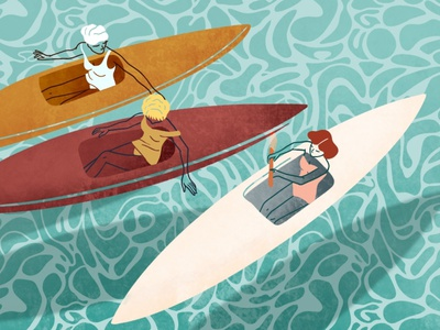 A Vintage Summer Day water summer summertime canoe canoeing traveling adventurer fashion illustration editorial illustration digital illustration girl illustration procreate illustration