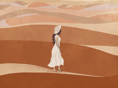 A Desert Walk travelling woman illustration desert desert illustration fashion illustration editorial illustration digital illustration girl illustration illustration