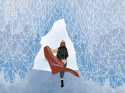 The Ice Cave winter traveling adventurer fashion illustration editorial illustration girl illustration digital illustration illustration