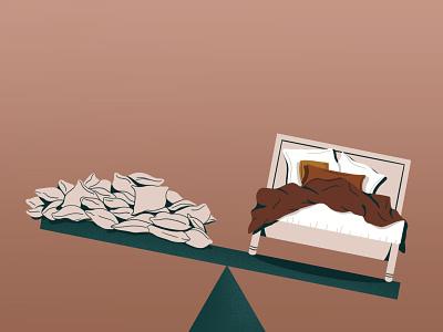 more sleep please conceptual illustration sleep pillows bed editorial illustration procreate digital illustration illustration