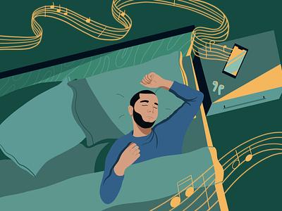 drifting off sleep sounds music notes falling asleep bed music sleep editorial illustration procreate digital illustration illustration