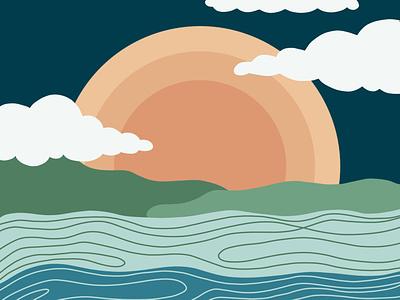 sunshine, sunshine peaceful outdoors illustration landscape sun sunset sunrise water ocean