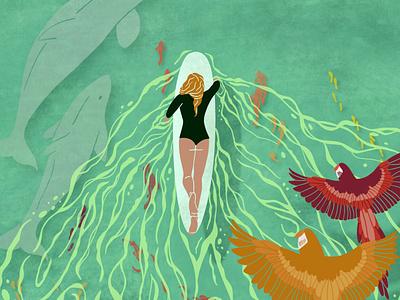 biodiversity adventurer girl illustration nature waves dolphins parrots ocean surfer biodiversity