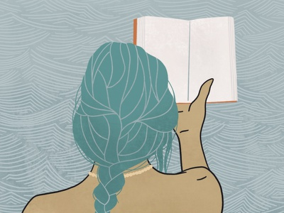 by the water pattern travel water book reading girl illustration illustration