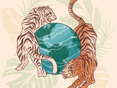 protect her🐅 lions planet protection environment earth tigers digital illustration