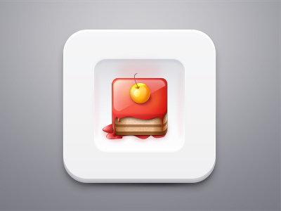 Sweet cake on plate icon plate cherry cake ios sweet jem